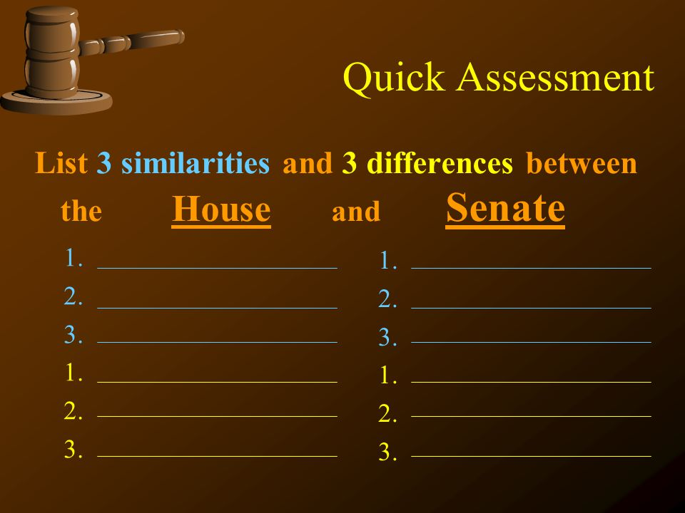 Quick Assessment List 3 similarities and 3 differences between the House and Senate 1. 2. 3. 1. 2. 3. 1. 2. 3. 1. 2. 3.