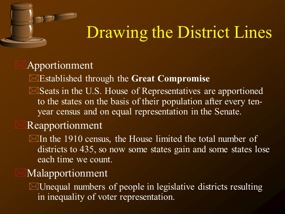 Drawing the District Lines *Apportionment *Established through the Great Compromise *Seats in the U.S. House of Representatives are apportioned to the