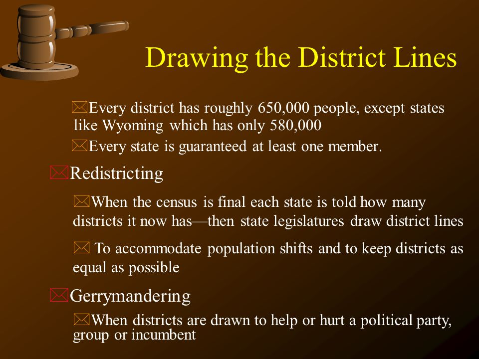 *Redistricting *When the census is final each state is told how many districts it now has—then state legislatures draw district lines * To accommodate