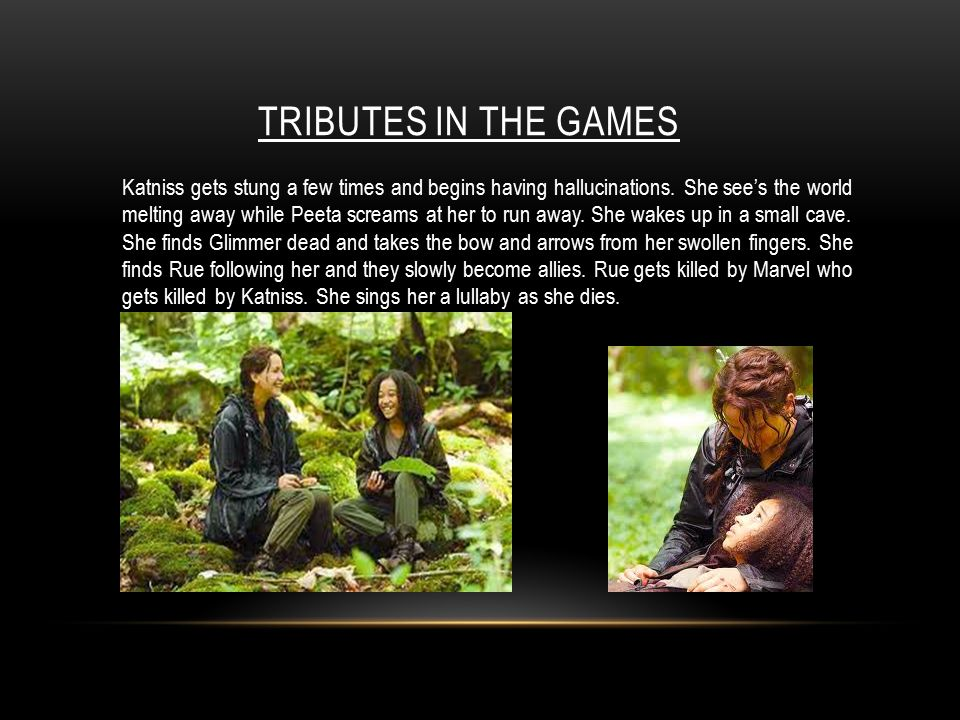 TRIBUTES IN THE GAMES Katniss gets stung a few times and begins having hallucinations.