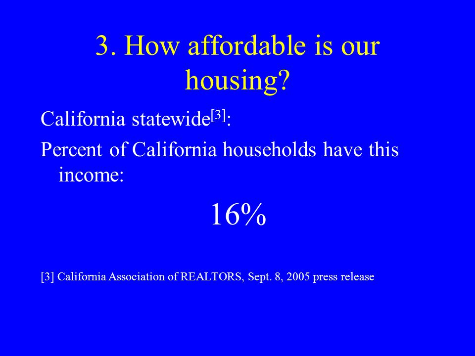 3. How affordable is our housing? California statewide [3] : Percent of California households have this income: 16% [3] California Association of REAL