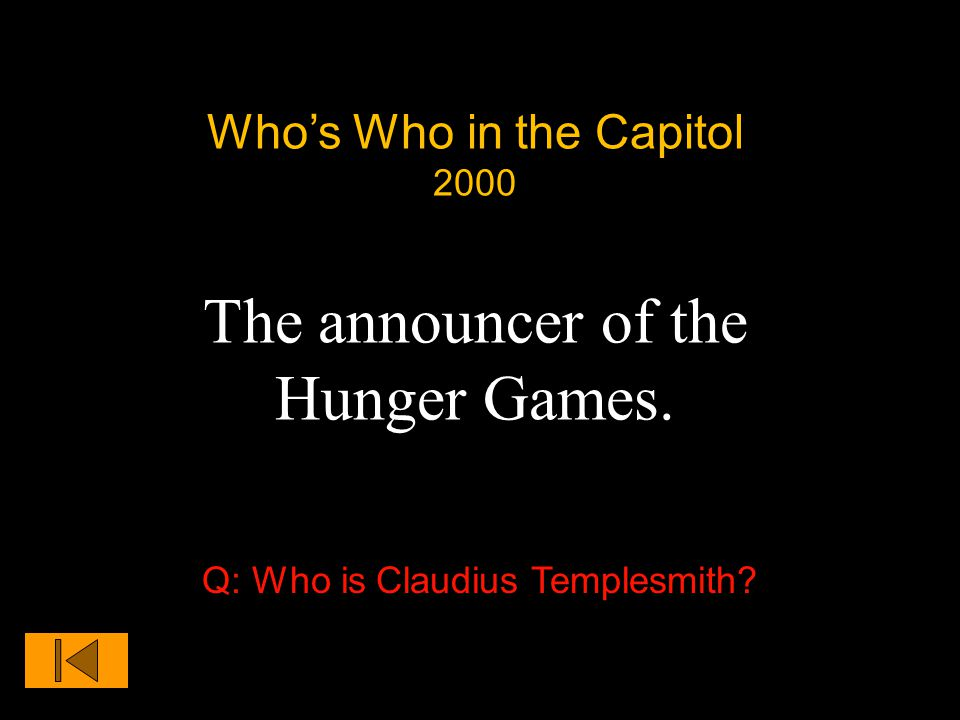 Who's Who in the Capitol 2000 The announcer of the Hunger Games. Q: Who is Claudius Templesmith?