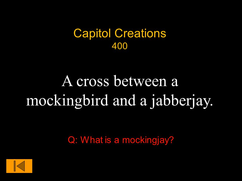 Capitol Creations 400 A cross between a mockingbird and a jabberjay. Q: What is a mockingjay