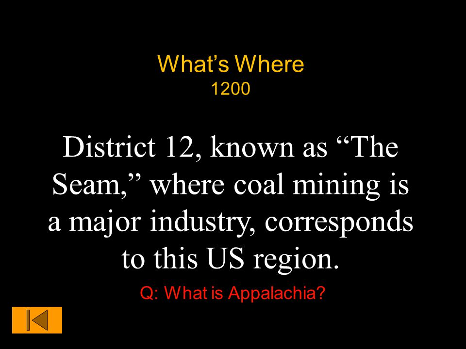 What's Where 1200 District 12, known as The Seam, where coal mining is a major industry, corresponds to this US region.