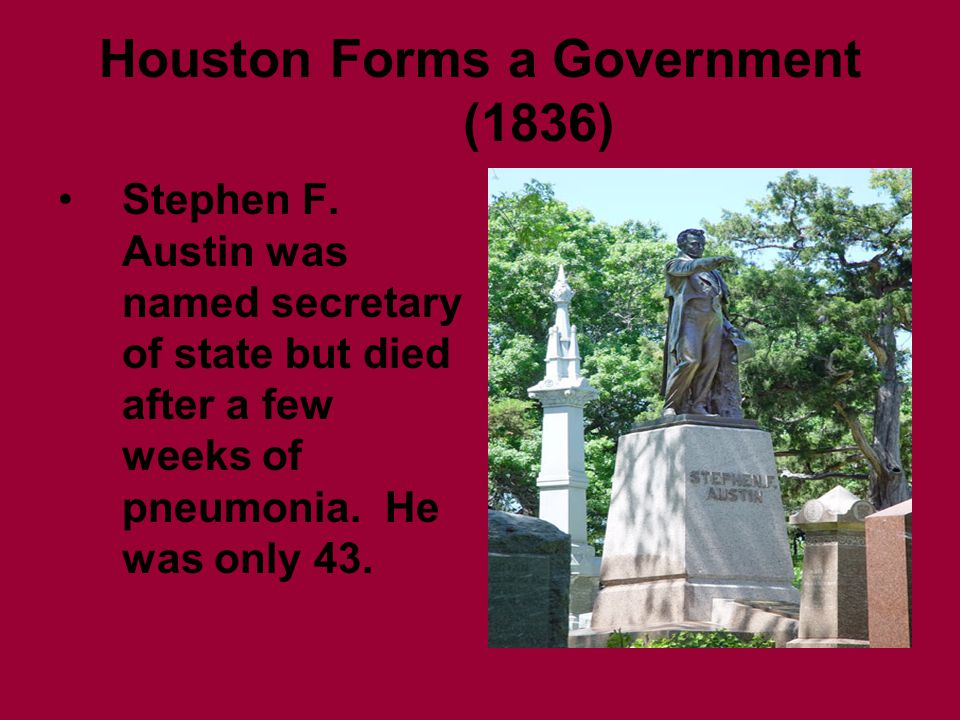 Houston Forms a Government (1836) Stephen F.