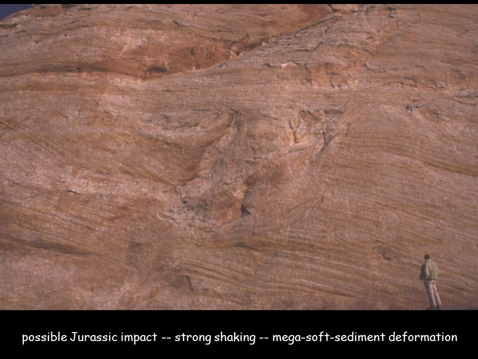 possible Jurassic impact -- strong shaking -- mega-soft-sediment deformation