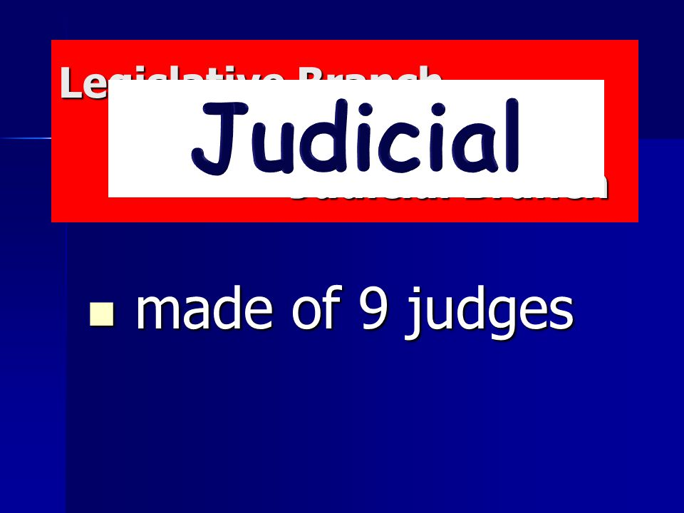 Legislative Branch Executive Branch Judicial Branch Legislative Branch Executive Branch Judicial Branch made of 9 judges made of 9 judges