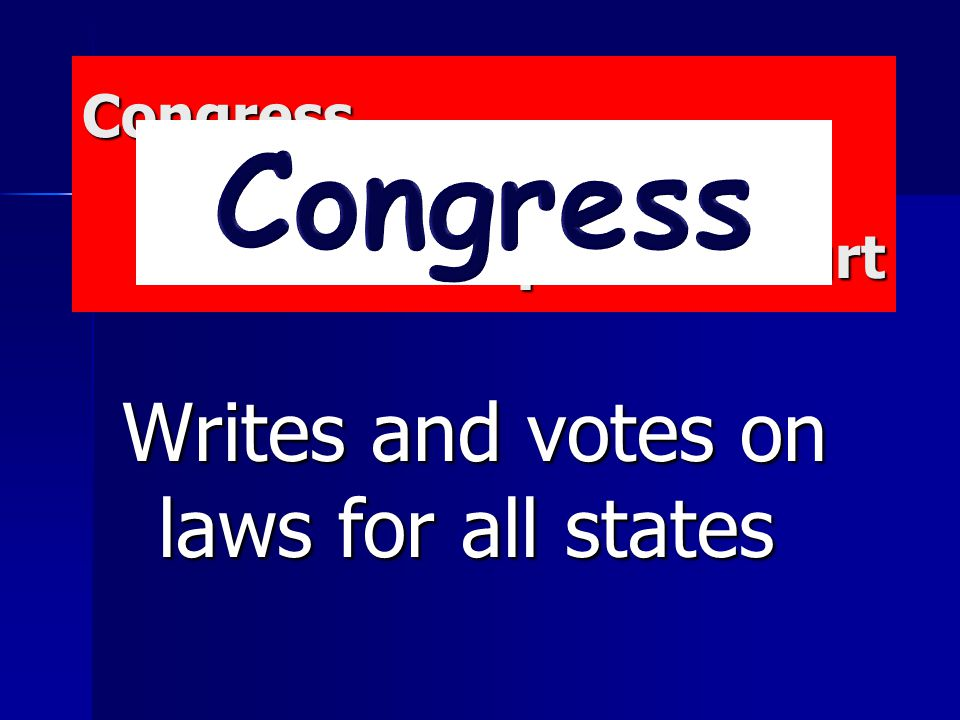 Congress President Supreme Court Congress President Supreme Court Writes and votes on laws for all states