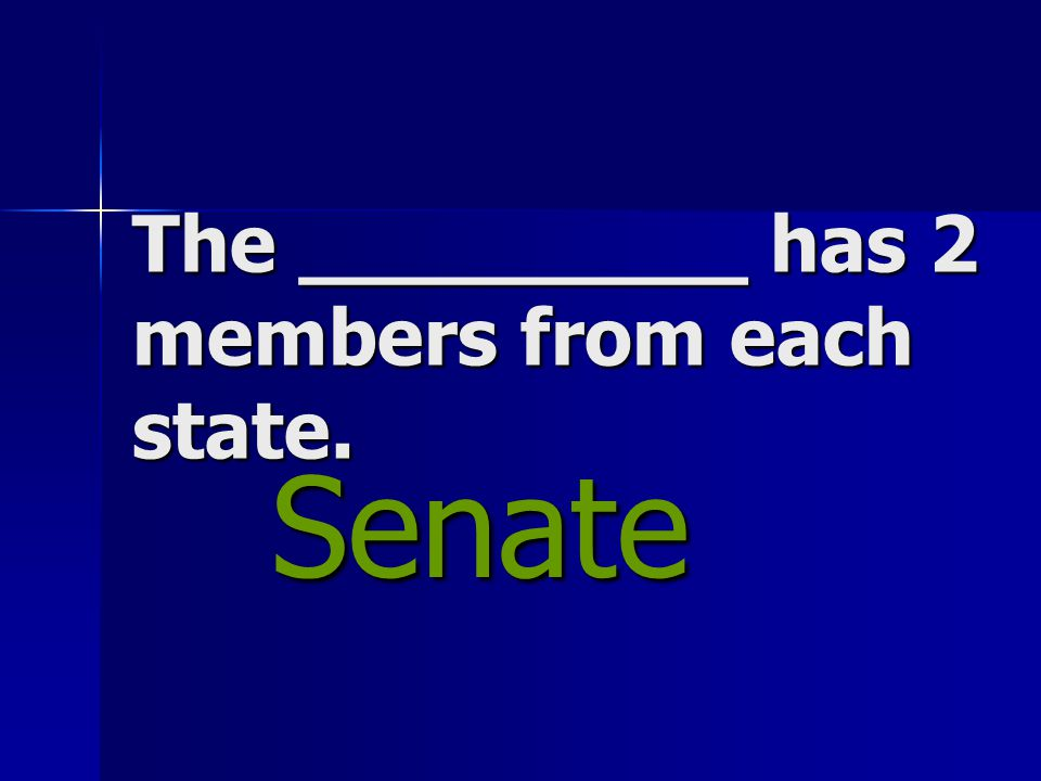 The _________ has 2 members from each state. Senate Senate