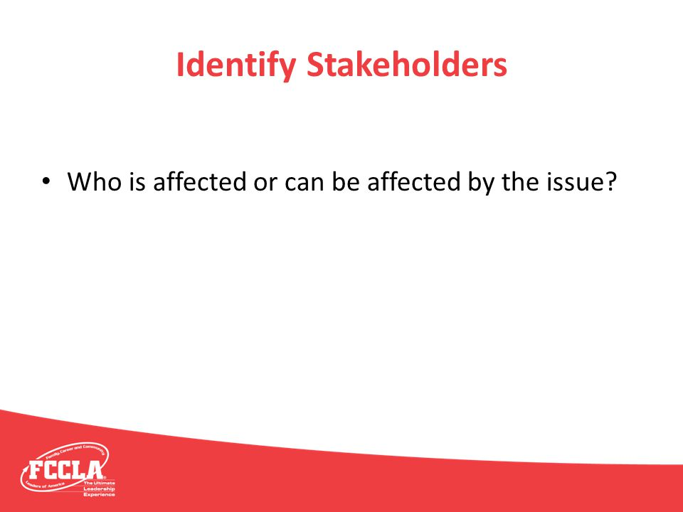 Identify Stakeholders Who is affected or can be affected by the issue?