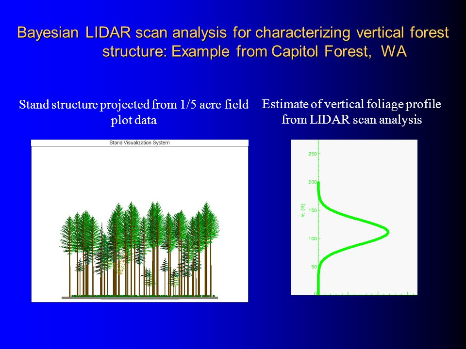 Bayesian LIDAR scan analysis for characterizing vertical forest structure: Example from Capitol Forest, WA Stand structure projected from 1/5 acre fie