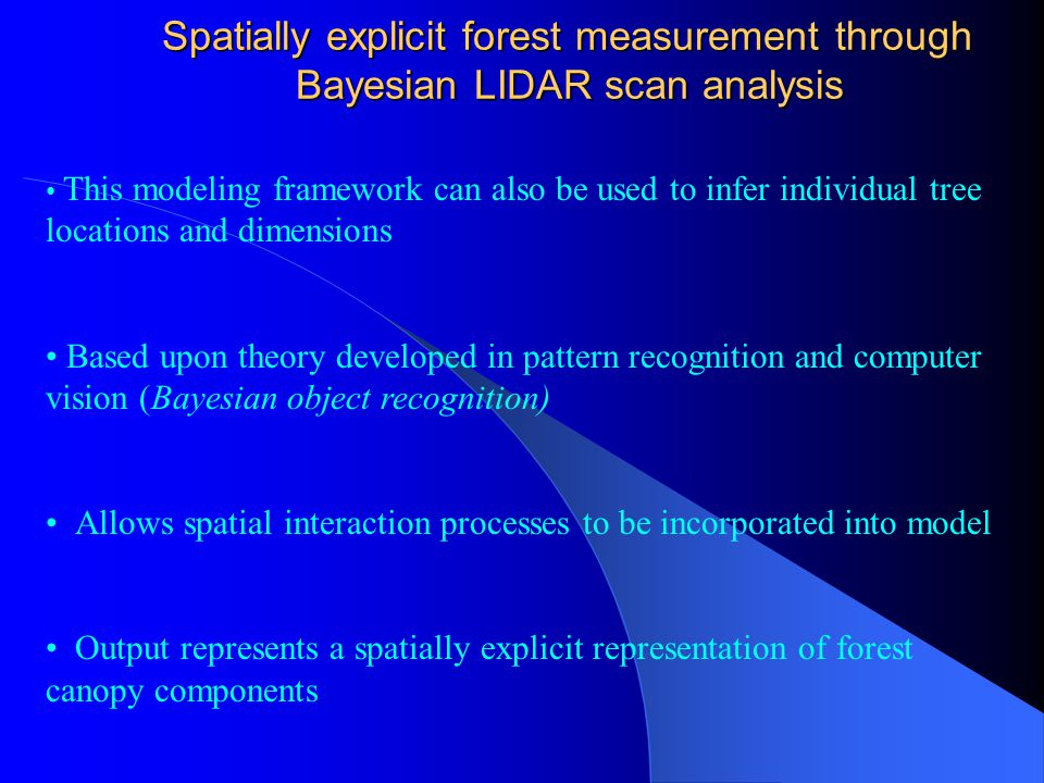 Spatially explicit forest measurement through Bayesian LIDAR scan analysis Spatially explicit forest measurement through Bayesian LIDAR scan analysis