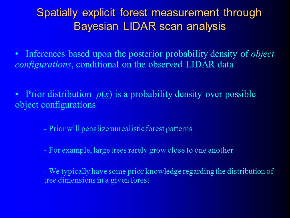 Inferences based upon the posterior probability density of object configurations, conditional on the observed LIDAR data Prior distribution p(x) is a