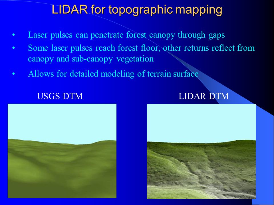 LIDAR for topographic mapping Laser pulses can penetrate forest canopy through gaps Some laser pulses reach forest floor, other returns reflect from c
