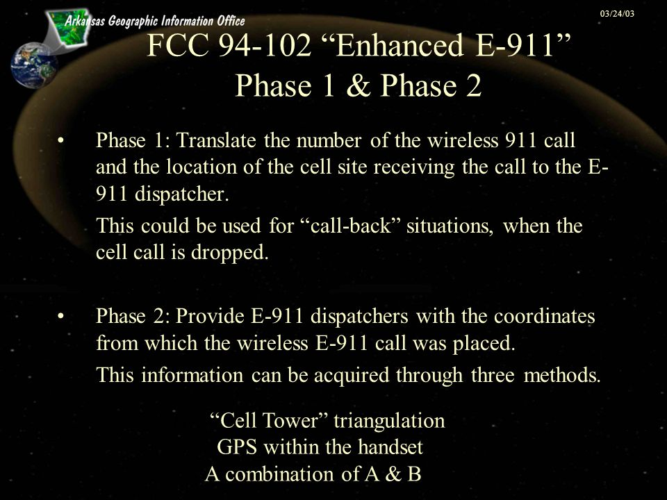"03/24/03 FCC 94-102 ""Enhanced E-911"" Phase 1 & Phase 2 Phase 1: Translate the number of the wireless 911 call and the location of the cell site receiv"