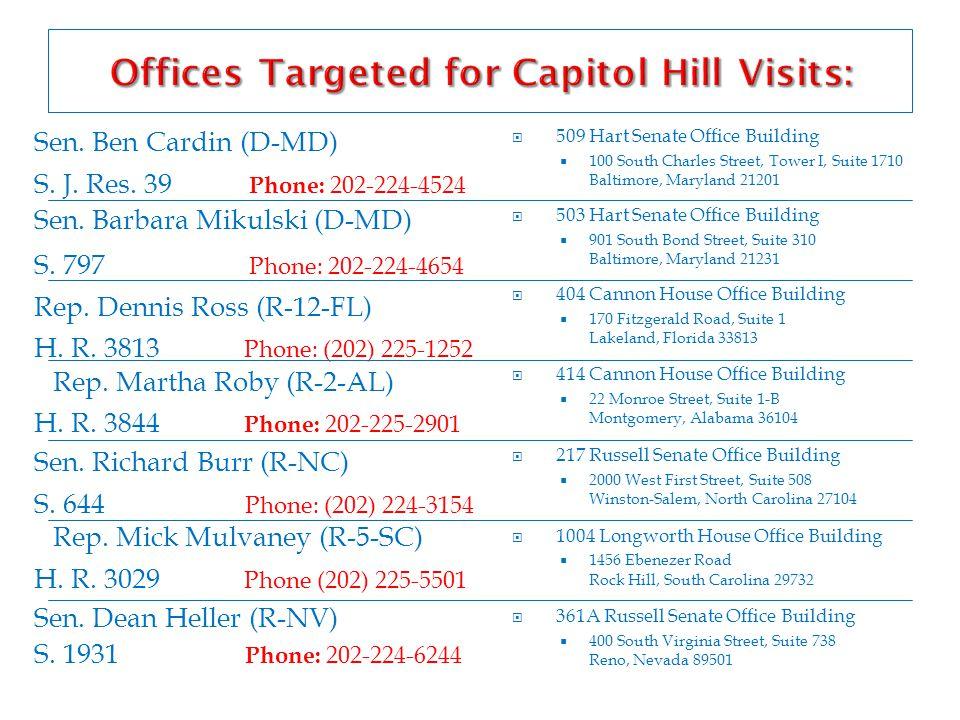 Sen. Ben Cardin (D-MD) S. J. Res. 39 Phone: 202-224-4524 Sen.