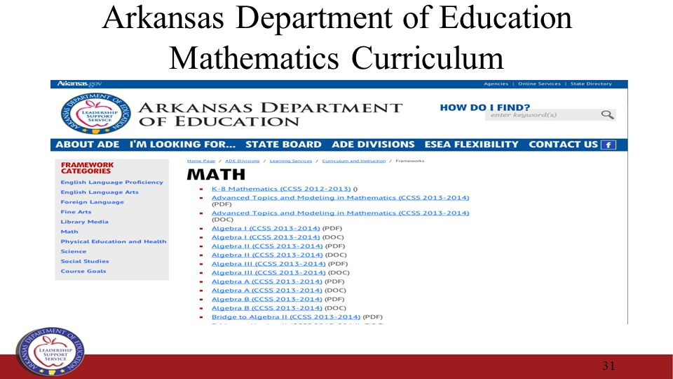 Arkansas Department of Education Mathematics Curriculum 31