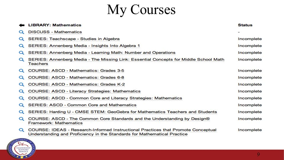 My Courses 9