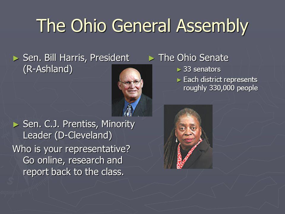 The Ohio General Assembly ► Sen. Bill Harris, President (R-Ashland) ► Sen. C.J. Prentiss, Minority Leader (D-Cleveland) Who is your representative? Go