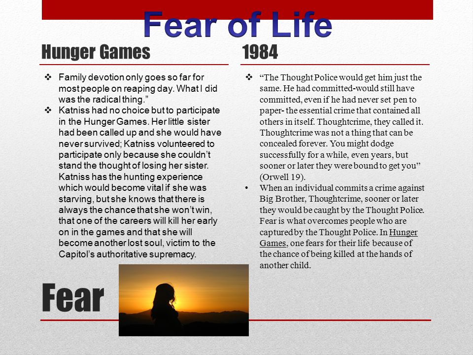 """Fear Hunger Games 1984  """"The Thought Police would get him just the same. He had committed-would still have committed, even if he had never set pen to"""