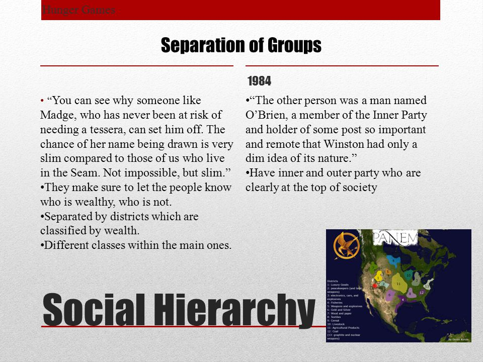 Social Hierarchy Hunger Games 1984 Separation of Groups You can see why someone like Madge, who has never been at risk of needing a tessera, can set him off.