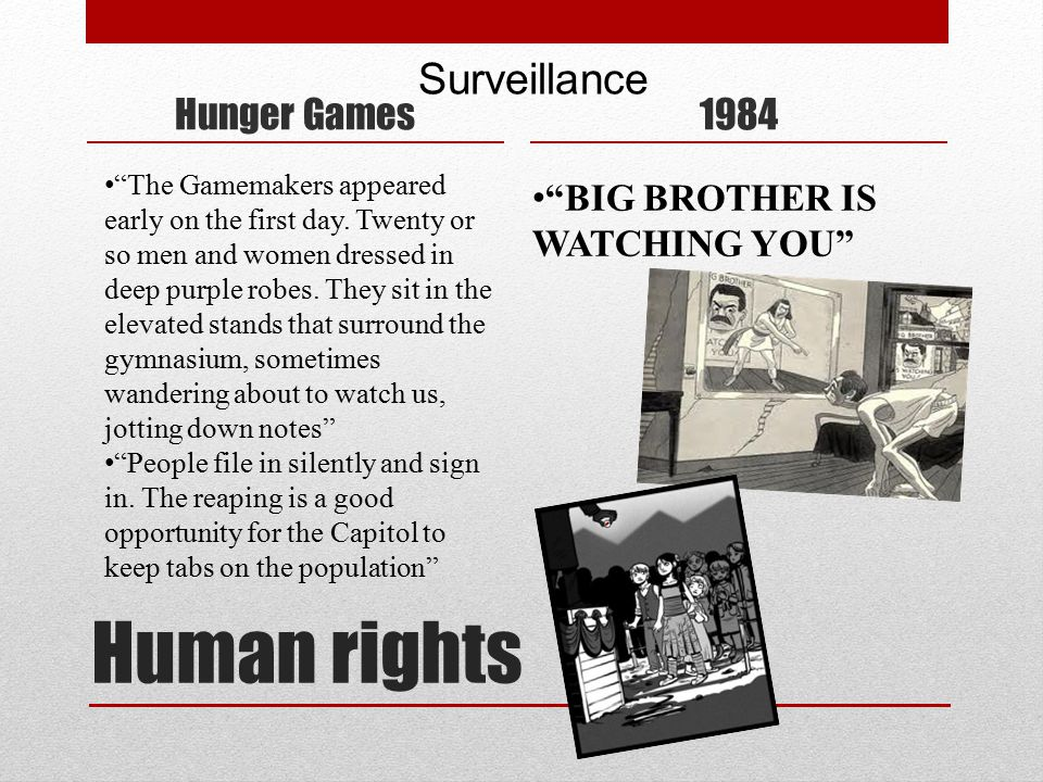 Human rights Hunger Games1984 Surveillance The Gamemakers appeared early on the first day.