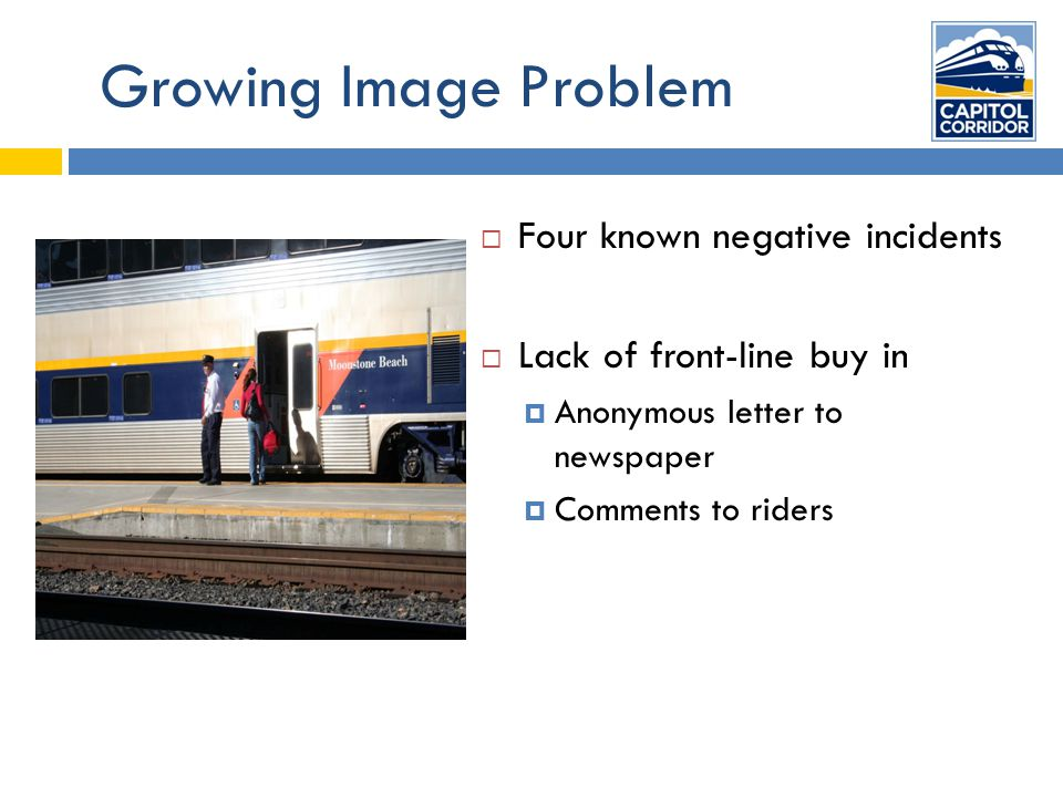 Growing Image Problem  Four known negative incidents  Lack of front-line buy in  Anonymous letter to newspaper  Comments to riders