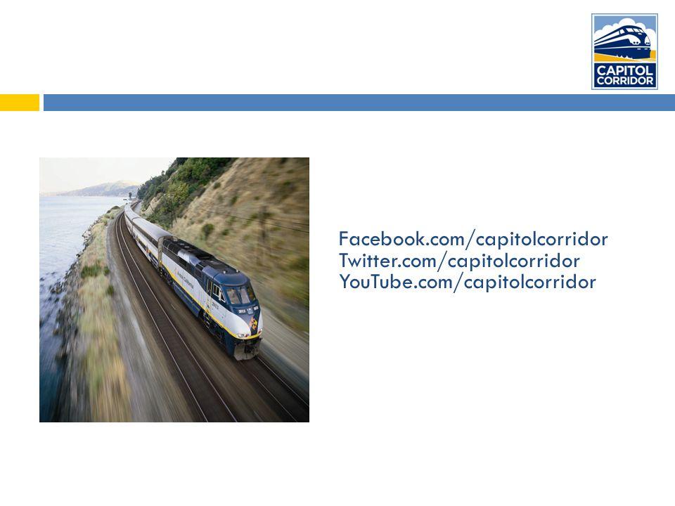 Facebook.com/capitolcorridor Twitter.com/capitolcorridor YouTube.com/capitolcorridor