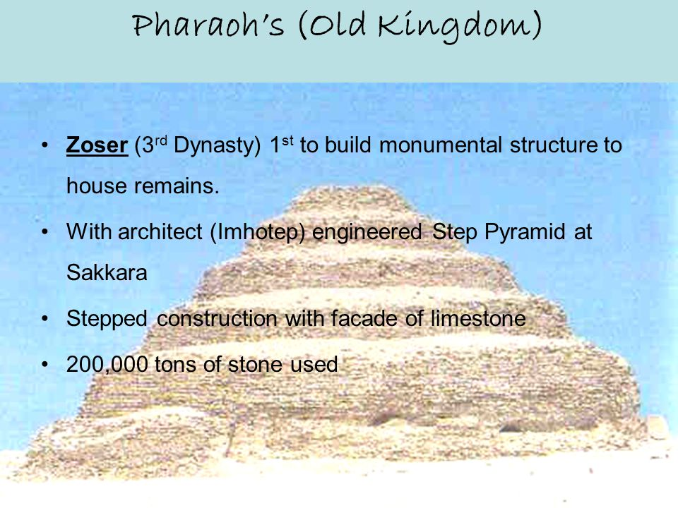 Old Kingdom Position of Pharaoh – Hereditary High Quality Judicial System Government –Peace, Non-Aggression (unique among ancient nations) –No standing Army, since existence was out of cooperative need –Only Local Militia Content to let other nations alone, since Isolated in location