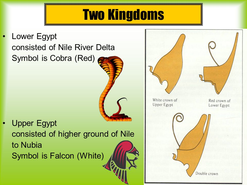 Two Kingdoms Lower Egypt consisted of Nile River Delta Symbol is Cobra (Red) Upper Egypt consisted of higher ground of Nile to Nubia Symbol is Falcon (White)