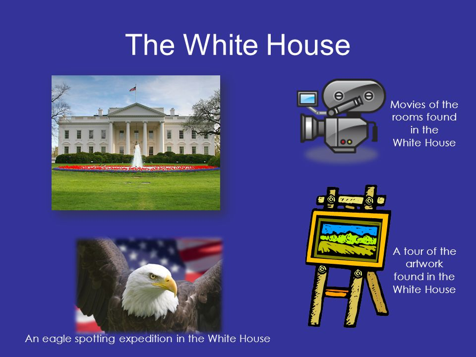 The White House An eagle spotting expedition in the White House A tour of the artwork found in the White House Movies of the rooms found in the White