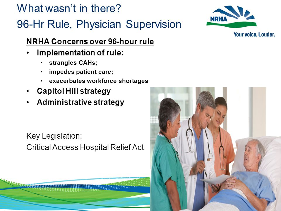 What wasn't in there? 96-Hr Rule, Physician Supervision NRHA Concerns over 96-hour rule Implementation of rule: strangles CAHs; impedes patient care;