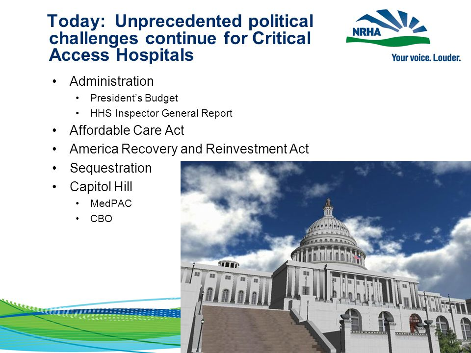 Today: Unprecedented political challenges continue for Critical Access Hospitals Administration President's Budget HHS Inspector General Report Afford