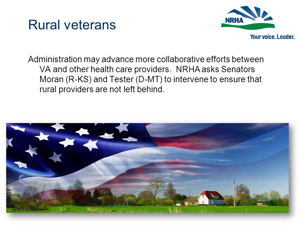 Rural veterans Administration may advance more collaborative efforts between VA and other health care providers.
