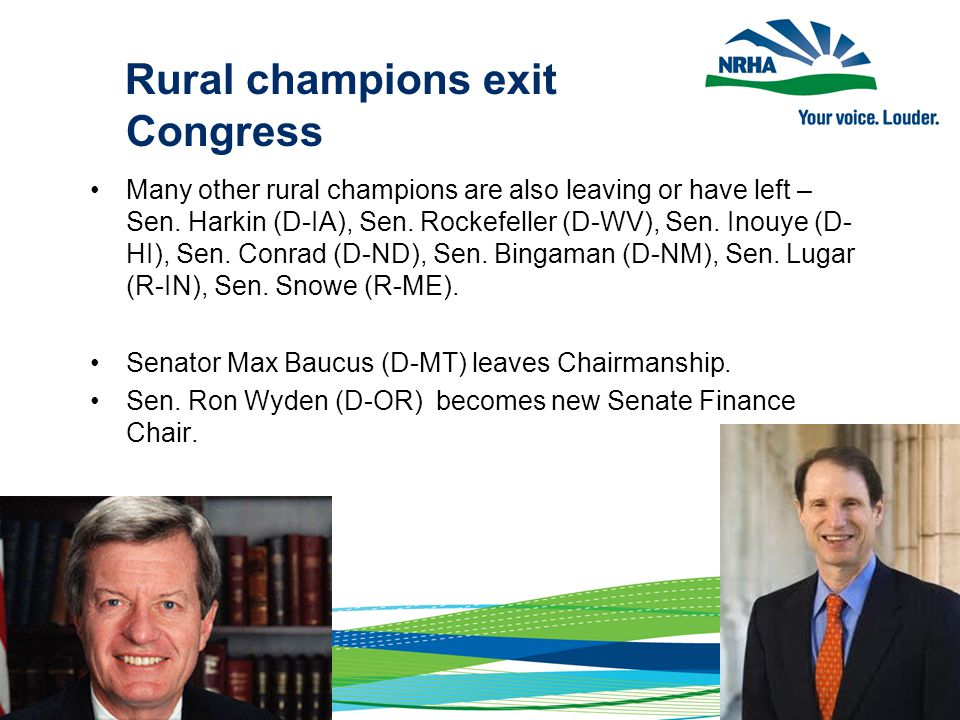 Rural champions exit Congress Many other rural champions are also leaving or have left – Sen.