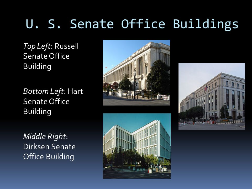 U. S. Senate Office Buildings Top Left: Russell Senate Office Building Bottom Left: Hart Senate Office Building Middle Right: Dirksen Senate Office Bu