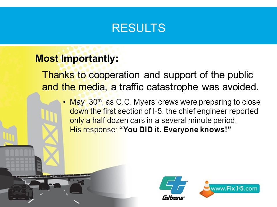 Most Importantly: Thanks to cooperation and support of the public and the media, a traffic catastrophe was avoided.