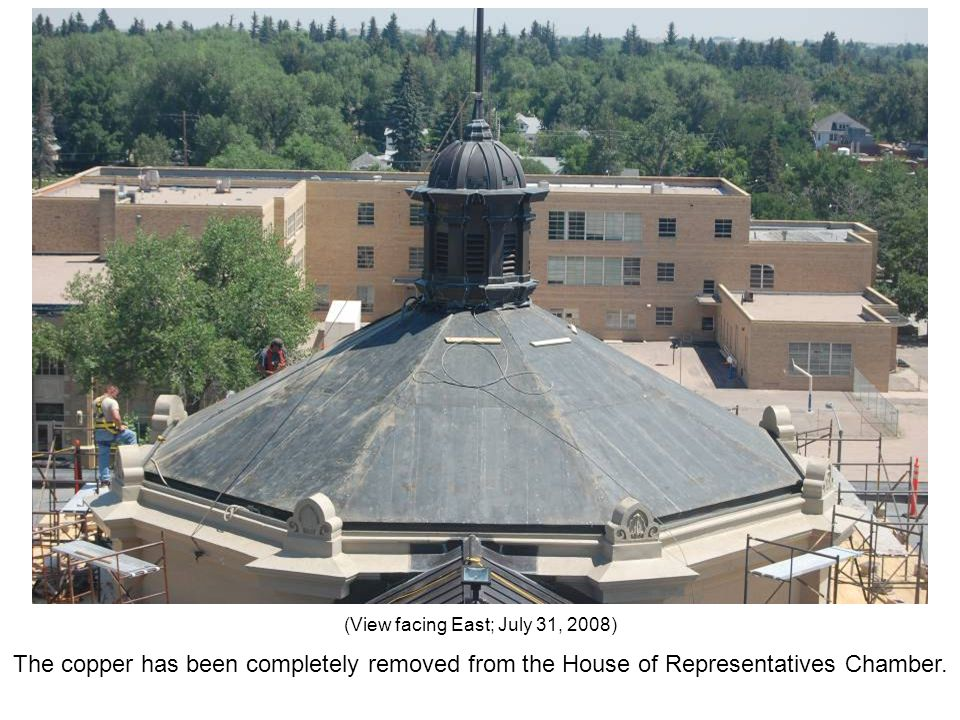 The copper has been completely removed from the House of Representatives Chamber. (View facing East; July 31, 2008)