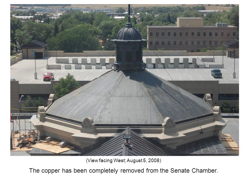 The copper has been completely removed from the Senate Chamber. (View facing West; August 5, 2008)