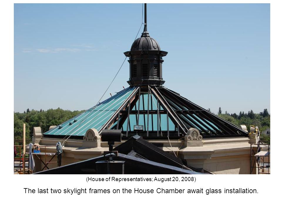 The last two skylight frames on the House Chamber await glass installation. (House of Representatives; August 20, 2008)