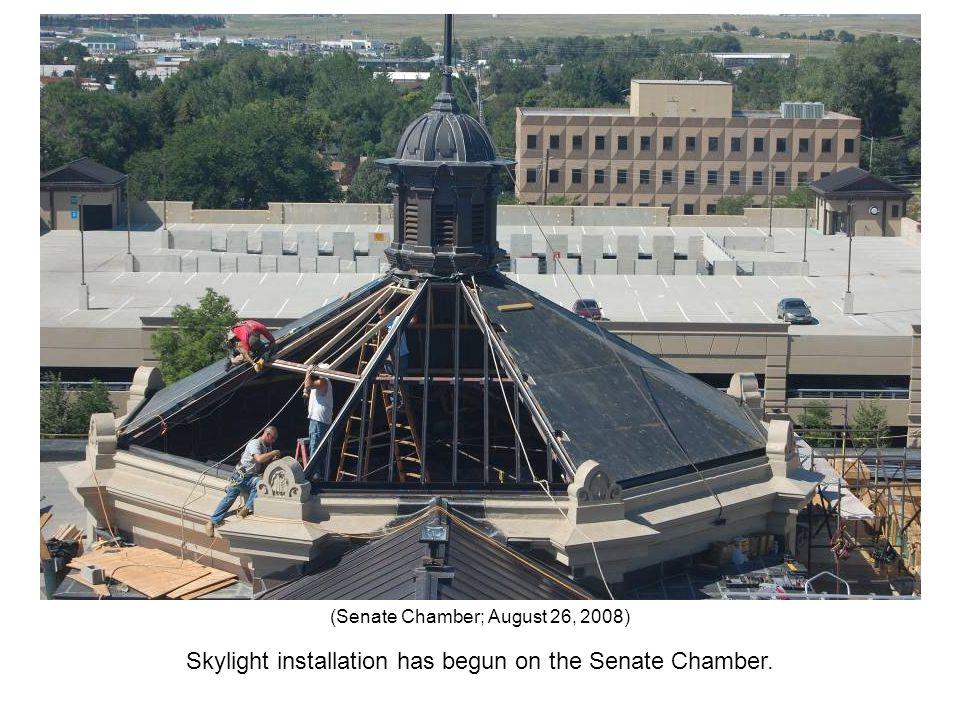 Skylight installation has begun on the Senate Chamber. (Senate Chamber; August 26, 2008)