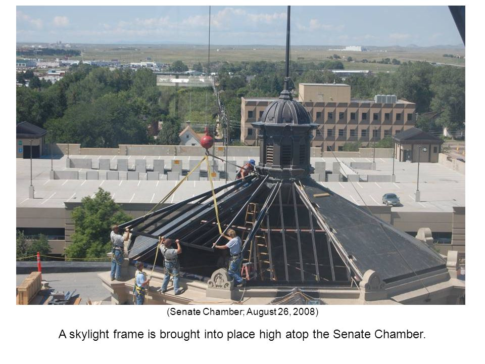 A skylight frame is brought into place high atop the Senate Chamber. (Senate Chamber; August 26, 2008)