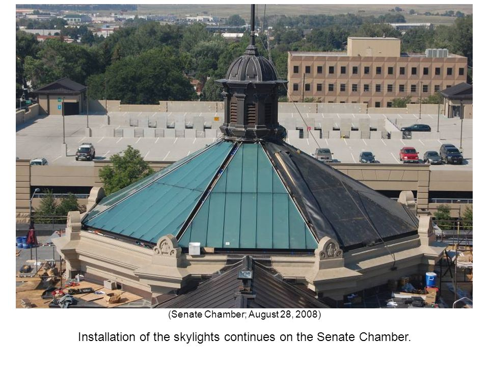 Installation of the skylights continues on the Senate Chamber. (Senate Chamber; August 28, 2008)