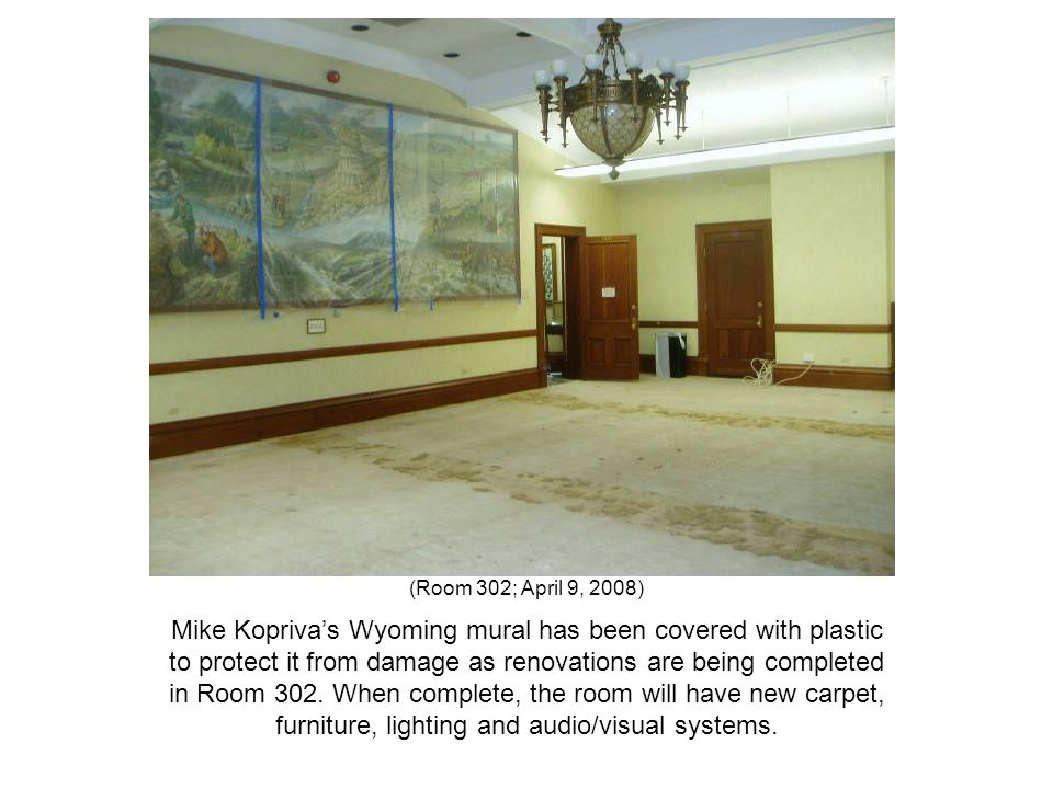 (Room 302; April 9, 2008) Mike Kopriva's Wyoming mural has been covered with plastic to protect it from damage as renovations are being completed in R