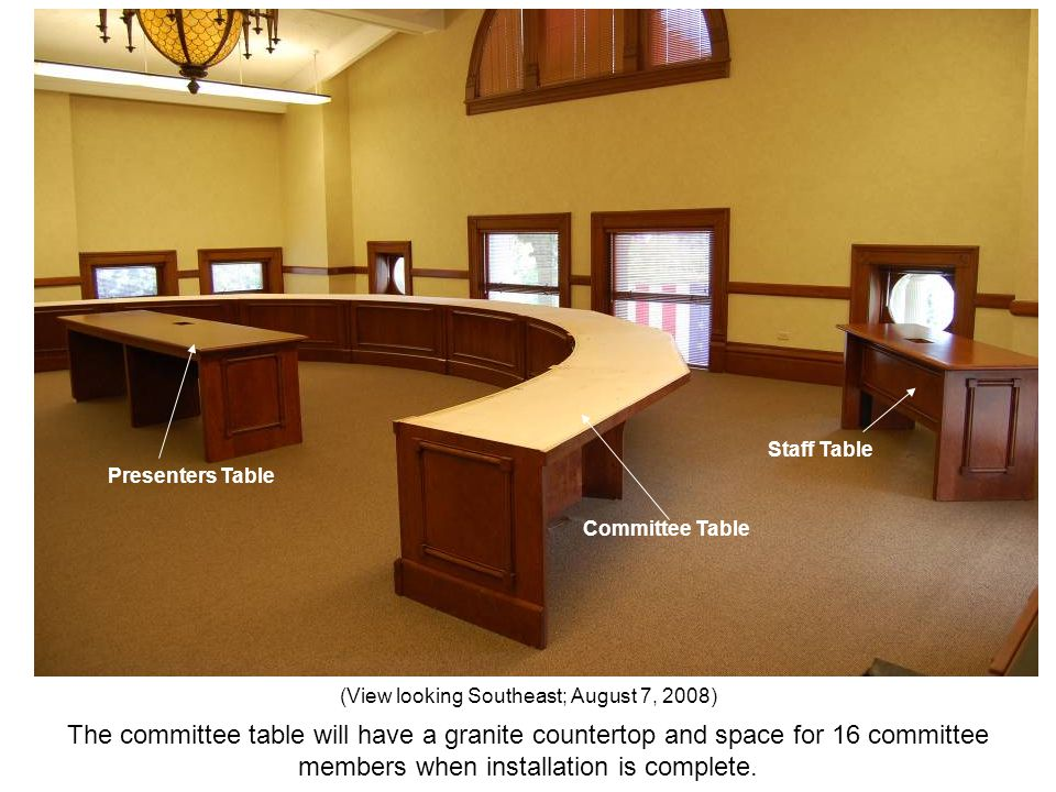 The committee table will have a granite countertop and space for 16 committee members when installation is complete. (View looking Southeast; August 7