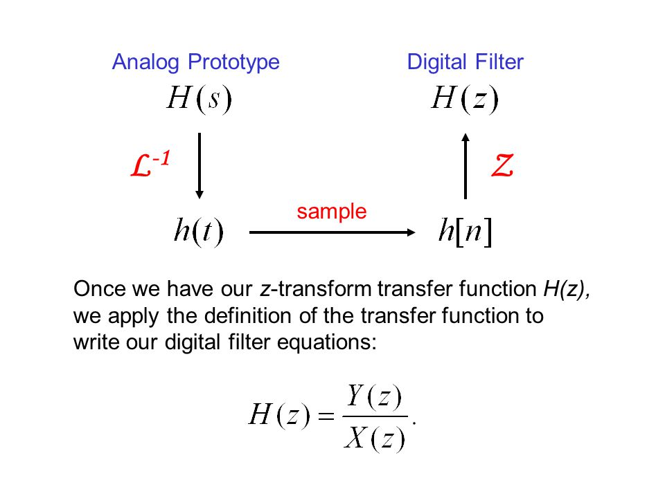 L -1 Z Once we have our z-transform transfer function H(z), we apply the definition of the transfer function to write our digital filter equations: sa