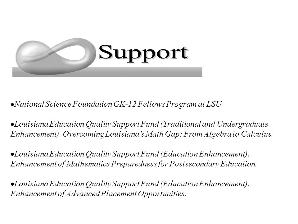  National Science Foundation GK-12 Fellows Program at LSU  Louisiana Education Quality Support Fund (Traditional and Undergraduate Enhancement).
