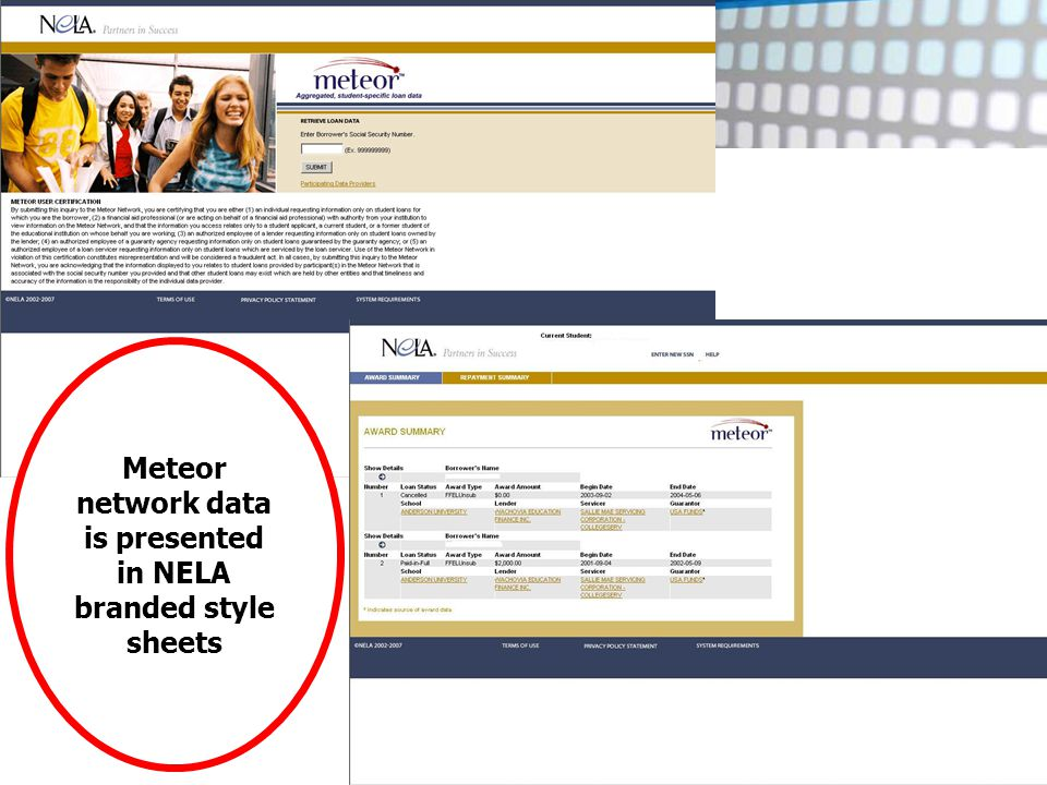 5 th Annual Conference on Technology & Standards Meteor network data is presented in NELA branded style sheets
