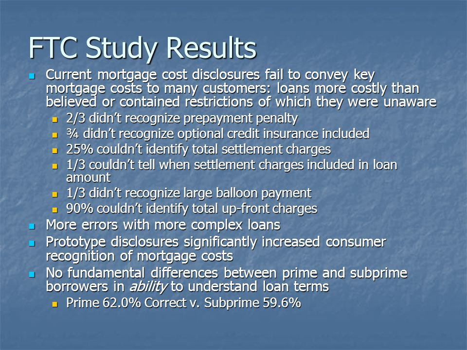 FTC Study Results Current mortgage cost disclosures fail to convey key mortgage costs to many customers: loans more costly than believed or contained restrictions of which they were unaware Current mortgage cost disclosures fail to convey key mortgage costs to many customers: loans more costly than believed or contained restrictions of which they were unaware 2/3 didn't recognize prepayment penalty 2/3 didn't recognize prepayment penalty ¾ didn't recognize optional credit insurance included ¾ didn't recognize optional credit insurance included 25% couldn't identify total settlement charges 25% couldn't identify total settlement charges 1/3 couldn't tell when settlement charges included in loan amount 1/3 couldn't tell when settlement charges included in loan amount 1/3 didn't recognize large balloon payment 1/3 didn't recognize large balloon payment 90% couldn't identify total up-front charges 90% couldn't identify total up-front charges More errors with more complex loans More errors with more complex loans Prototype disclosures significantly increased consumer recognition of mortgage costs Prototype disclosures significantly increased consumer recognition of mortgage costs No fundamental differences between prime and subprime borrowers in ability to understand loan terms No fundamental differences between prime and subprime borrowers in ability to understand loan terms Prime 62.0% Correct v.