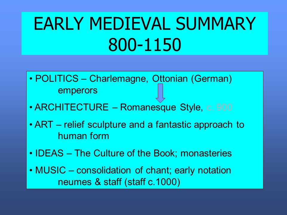EARLY MEDIEVAL SUMMARY 800-1150 POLITICS – Charlemagne, Ottonian (German) emperors ARCHITECTURE – Romanesque Style, c.